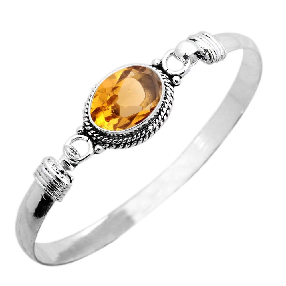 925 Silver Plated 9.10ct, Simulated Citrine Bangle Made by Sterling Silver Jewelry