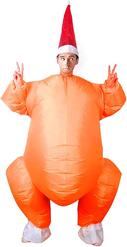 Inflatable Turkey Funny Fancy Dress BlowUp Rider Costume Stag Do Hen Night AduDS