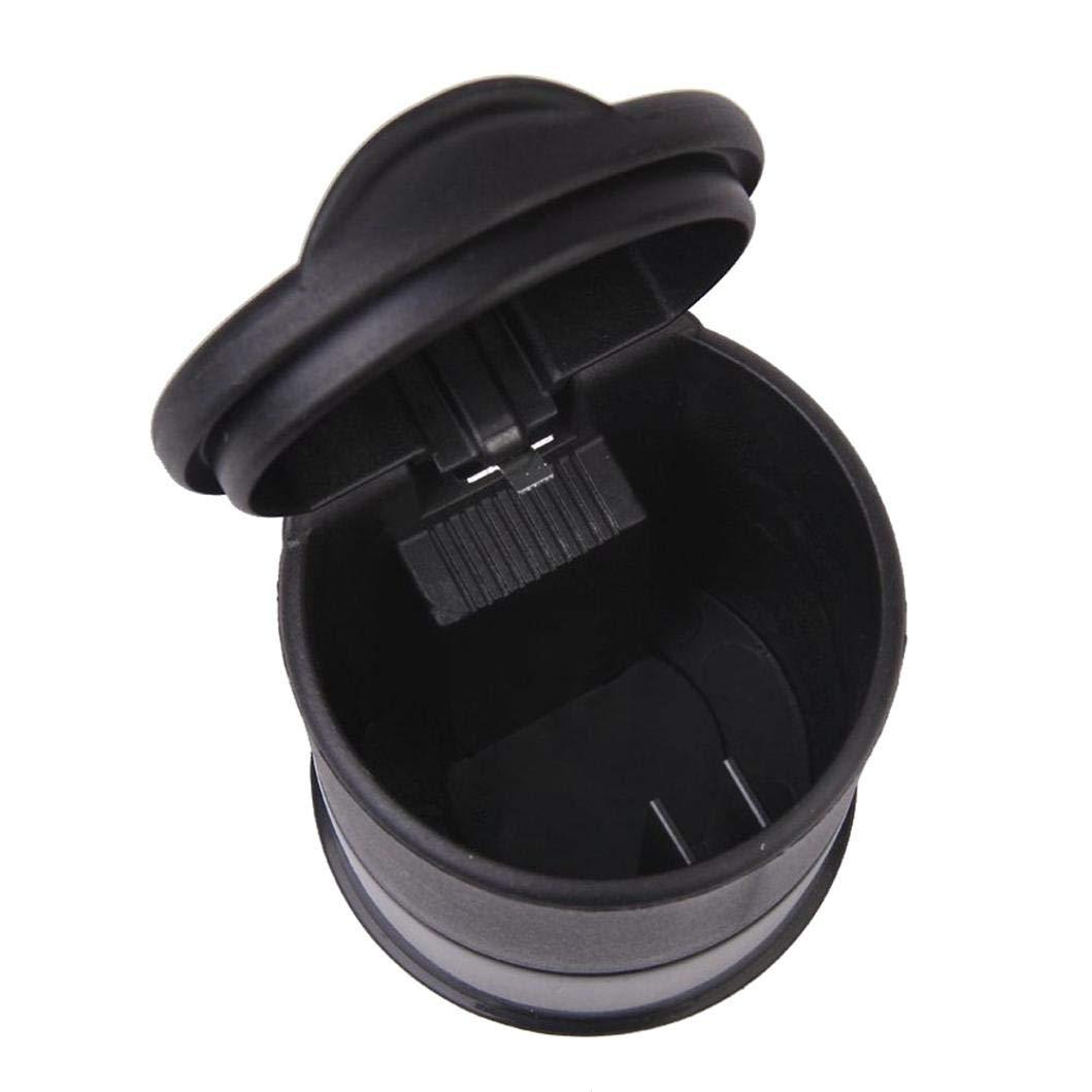 Negro LNIEGE Mini Bote de Basura con Tapa Cenicero Basura Polvo Basura Papelera Cigarrillo Universal