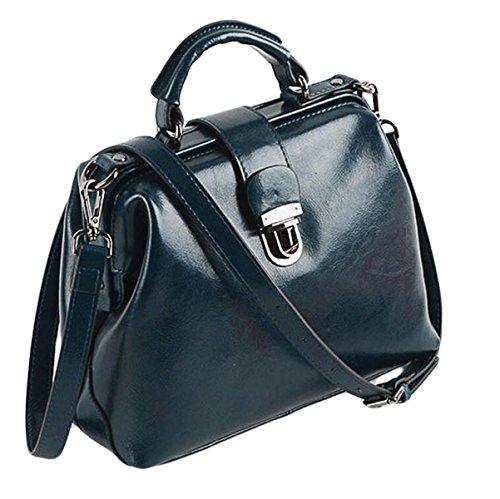 Paquet Main Cuir Pétrole Docteur En En blue Boucle Sac à Sacs Main Rétro Bag épaule à Cire De Messenger Cuir W0q1Rxnv4