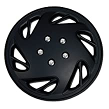 TuningPros WSC-054B17 Hubcaps Wheel Skin Cover 17-Inches Matte Black Set of 4
