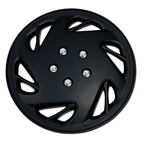 (TuningPros WSC-054B15 Hubcaps Wheel Skin Cover 15-Inches Matte Black Set of 4)