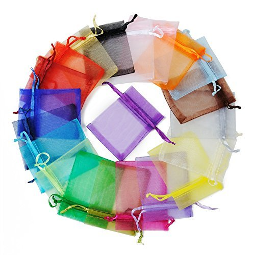 Mix Color Party Favor Bags Organza 3x4 inch 50pcs Organza Bag , Drawstring Bags For Wedding Baby Shower Favors Mesh Gift Bag Jewelry Candy Bag 3x4 Organza Bag