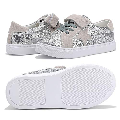 Faurn Toddler Little Kids Glitter Sequins Sneakers Stars Series Loafers