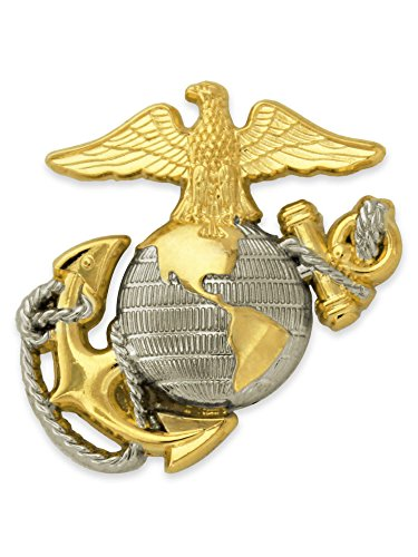 - PinMart U.S. Marine Corps USMC Emblem Silver and Gold Military Lapel Pin