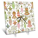 3dRose Anne Marie Baugh - Christmas - Cute Fiesta Christmas Ornaments Pattern - 6x6 Desk Clock (dc_289300_1)