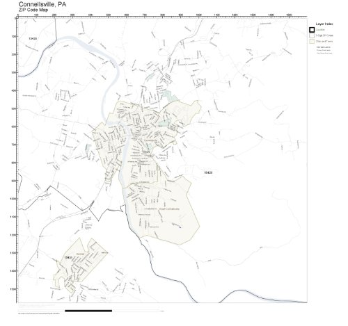 ZIP Code Wall Map of Connellsville, PA ZIP Code Map Laminated