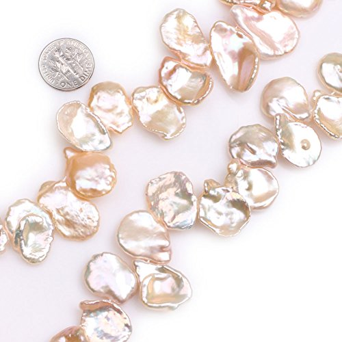 GEM-Inside Pink Top Drilled Pearls Gemstone Loose Beads Natural Coin 20mm Energy Stone Power for Jewelry Making 15'' ()