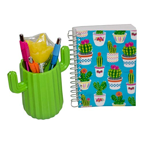 Cute Green Cactus Pen Holder Gift Set with Pens, Bright Mini Cactus Notebook and an ASL I Love You Sucker