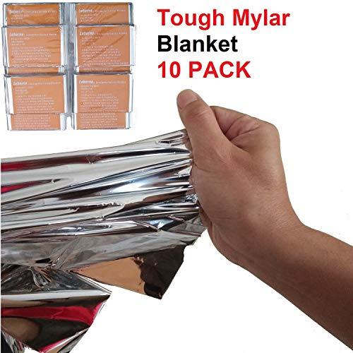 Leberna Emergency Foil Mylar Thermal Blankets 59 inches x 87 inches (Pack of 10) | Double Sided Escape Tact Bivvy, Space Blanket | Designed for NASA, Outdoors, Hiking, Survival, Marathons or First Aid