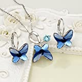 EleQueen 925 Sterling Silver Butterfly Bridal Necklace Leverback Earrings Set Denim Blue Made with Swarovski Crystals