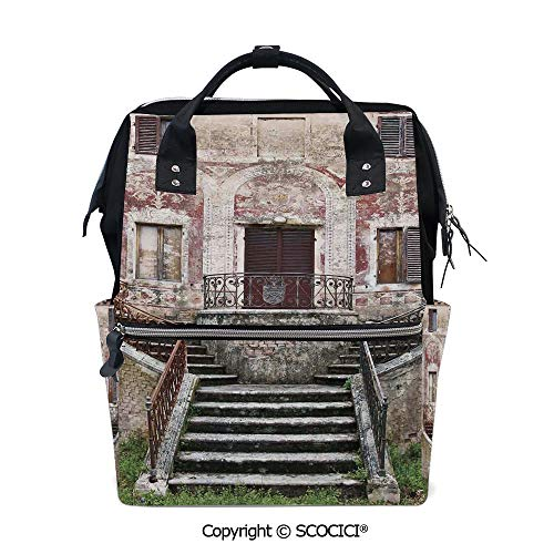 SCOCICI Travel Backpack Large Diaper Bag,Rustic Window Old Wooden Shutter Flower Pot on Medieval Stone Wall,with Wide Style Top Opening