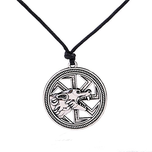 (VASSAGO Vintage Norse Viking Fenrir Wolf Slavic Sun Wheel Pendant Animal Talisman Necklace for Men Women (antique silver))