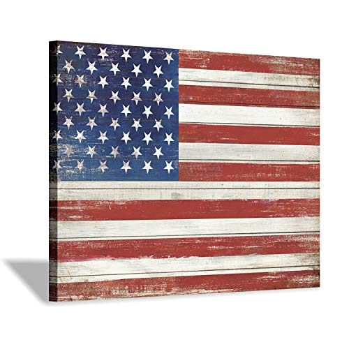 - American Flag Canvas Wall Art: USA Flag on Wood Texture Background Picture Painting Artwork for Living Room Office (24'' x 18'')