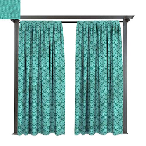 cobeDecor Thermal Insulated Drapes Japanese Squama Pattern Arch Forms for Lawn & Garden, Water & Wind Proof W120 xL84 ()