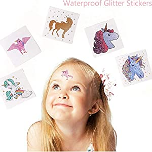 Funnlot Unicorn Temporary Tattoos for Kids Girls Birthday Party Supplies Set of 24 Waterproof Glitter Stickers (24)