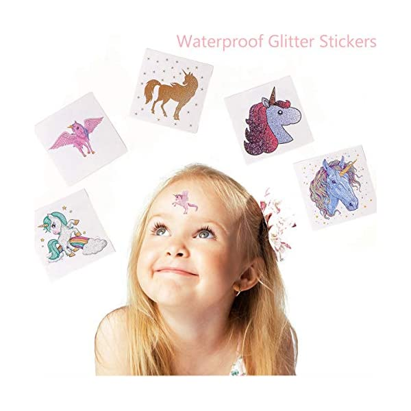 Funnlot Unicorn Temporary Tattoos for Kids Girls Birthday Party Supplies Set of 24 Waterproof Glitter Stickers (24) 2