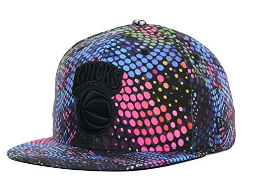 New Era NBA New York Knicks Hardwood Classic Dotify Black/Blue/Red/Green Flat Brim Fitted Hat Cap (6 7/8)