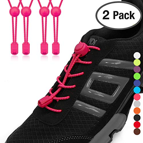 (Stout Gears No Tie Shoelaces with Lock System   Elastic Shoe Laces for Sneakers (2 Packs, Pink-Pink))