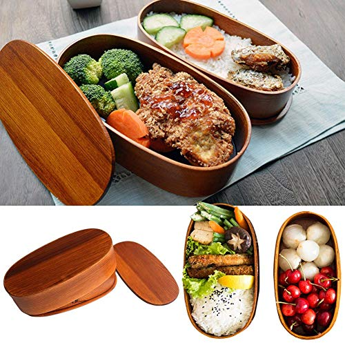 Lunch Boxes Japanese Vintage Traditional Natural Square Wooden Lunch Containers Women's Men's Adult Kids Wood Bento Boxes ()