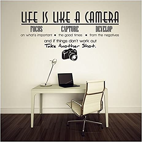 Life Is Like A Camera Quotes And Sayings Lettering Removable Wall Stickers Decor Home