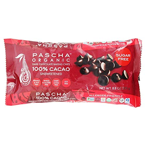 Pascha Organic Allergen-Free Unsweetened Dark Chocolate Chips 100 Percent Cacao 8.8 Ounce Pack of 6 (Total 52.8 Ounce) ()