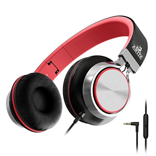 Artix CL750 Foldable Headphones with Microphone and Volume Control, On-Ear Stereo Earphones, Headset for Cellphones Tablets Smartphones Laptop Computer (Red/Black)