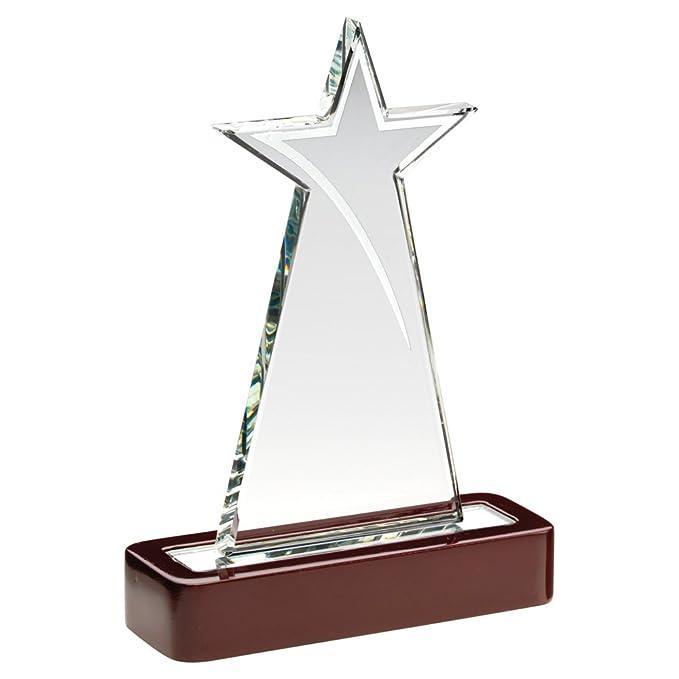 Star placa de vidrio trofeo en base de madera: Amazon.es: Deportes ...