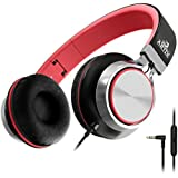 Best Sale Artix Foldable Headphones With Microphone And Volume Control Nrgsound Cl750 On ear Stereo Earphones Great For Kidsteensadults Blackred