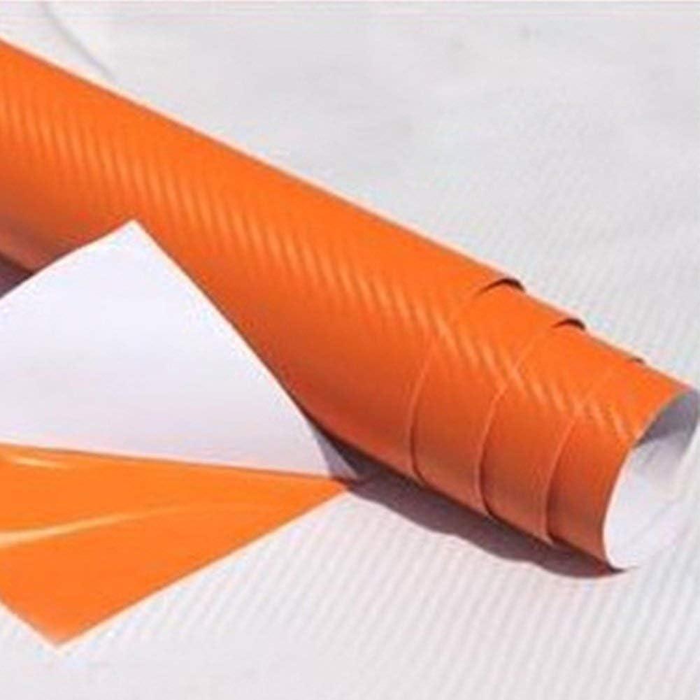 3D Vinilo Fibra de Carbono Adhesivo Cubierta - Relieve 3D Cuero Construcción Autoadhesivo Impermeable para Coche Adhesivo Rollo para Interior/Exterior - Naranja, 30x130cm: Amazon.es: Bricolaje y herramientas