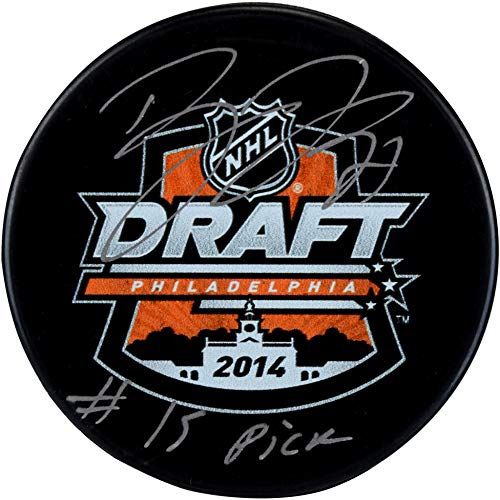 Dylan Larkin Detroit Red Wings Autographed 2014 NHL Draft Logo Hockey Puck with #15 Pick Inscription - Fanatics Authentic Certified
