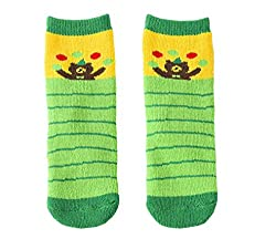 Beauty Nymph 2pairs Little Girls and Boys Cartoon Clumsy Bear Cotton Towel Socks (L:7-10years, Green)