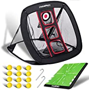 Champkey PRO Golf Chipping Net with 12 Foam Balls   Collapsible Golf Target Chipping nets   Improves All Chipp