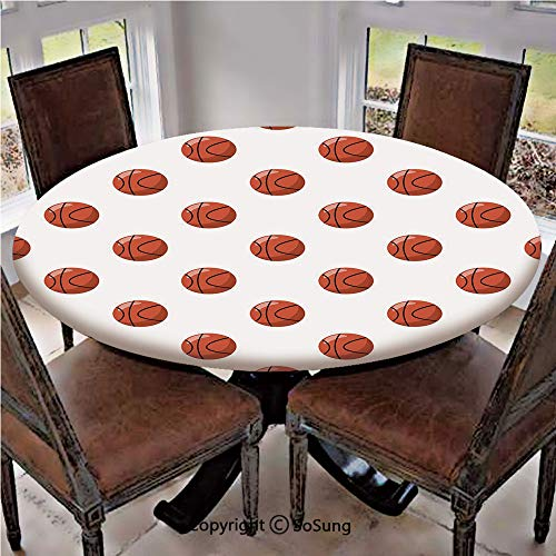 Elastic Edged Polyester Fitted Table Cover,Cartoon Classical Balls Competition Scoring Professional Tournament Decorative,Fits up 45