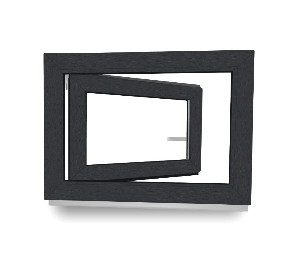 Kellerfenster - Kunststoff - Fenster - anthrazit / weiß - BxH: 60 x 60 cm - DIN Rechts Werkzeugbilligercom
