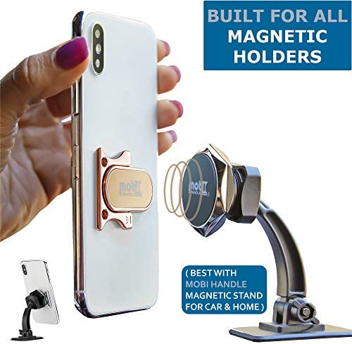 3 Finger Phone Ring Holder Kickstand – MOBI HANDLE Comfy Secure Grip, Scratch Resistant Durable Light Metal, Ideal for Magnetic Car Mount or Stand, Gift Idea, w/Wrist Strap [Rose Gold] 516jvdCUJLL