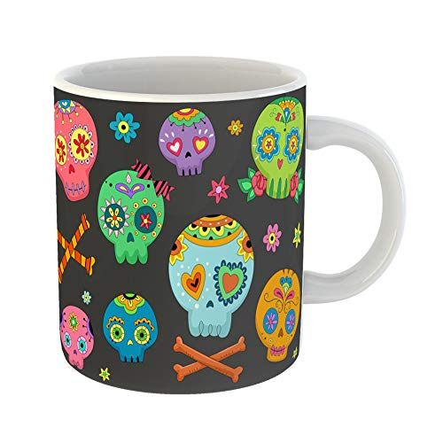 Emvency Coffee Tea Mug Gift 11 Ounces Funny Ceramic Mexican Halloween Featuring Colorful Sugar Skulls Mexico Gifts For Family Friends Coworkers Boss Mug ()