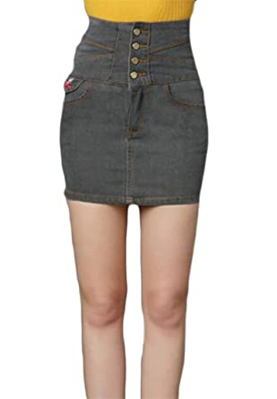 550172043c9af Alion Women Plus Size High Waist Floral Embroidery Stretch Button Denim Bodycon  Mini Skirt 1 L  Amazon.in  Clothing   Accessories