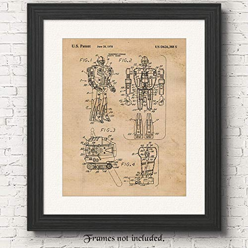 Original Transformers Patent Art Poster Prints, Set of 1 (11x14) Unframed Photo, Great Wall Art Decor Gifts Under 15 for Home, Office, Shop, Garage, Man Cave, Student, Teacher, Comic-Con & Movies Fan