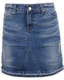 ililily Woman Vintage Distressed Washed Cotton Denim Classic Fit H-line Mini Skirt