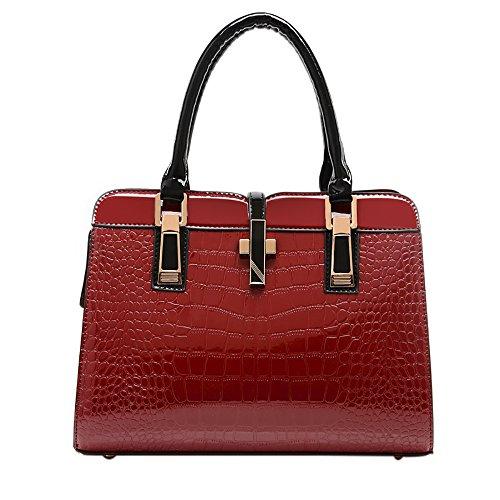 QZUnique Women's Fashion Top Handle Elegant Lady Style Cross Body Shoulder Bag Red