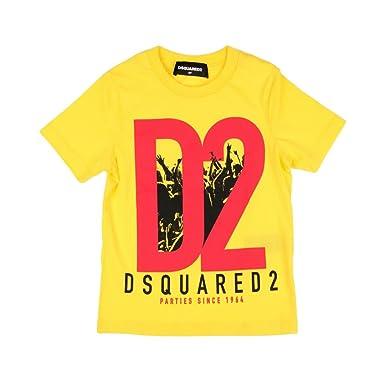 9603645684bd DSquared T-Shirt DSQUARED2 Bimbo DQ02M1 DQ214 Giallo Maglietta Stampa Logo  SS 18: Amazon.co.uk: Clothing