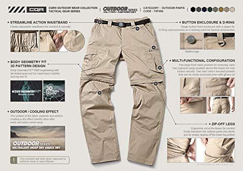 CQR CQ-TXP402-GRN_32W/30L Men's Convertible Pants Zipp Off Stretch Durable UPF 50+ Quick Dry Cargo Shorts Trousers TXP402 by CQR (Image #7)