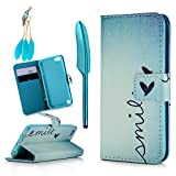 Image of MOLLYCOOCLE iPod Touch 5 Case, Touch 6 Case, Stand Wallet Purse Credit Card ID Holders Magnetic Smile Love Bule Sky Design PU Leather Ultra Slim Fit Flip Folio Cover for iPod Touch 5/6