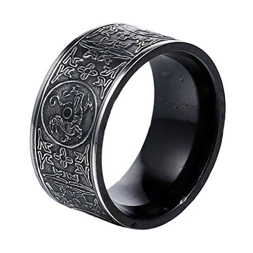 PAMTIER Stainless Steel Vintage Black Ring for Men Chinese Ancient 4 Guardian Beasts Signet Band Size 9