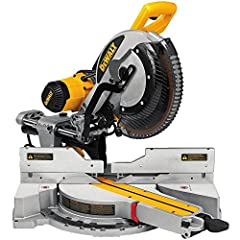 """The DEWALT DWS779 12"""" Sliding compound Miter saw features a powerful 15 amp, 3, 800 RPM motor that delivers extended power and durability. It has a super efficient dust collection system that captures over 75% of dust generated. This miter sa..."""