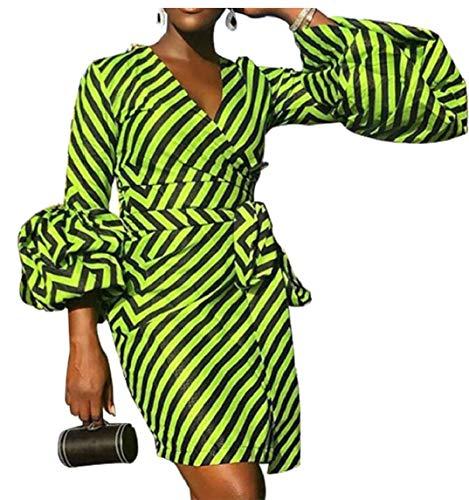 Lanterna V Strisce collo Vestito A Verde Della Ainr Clubwear Donne Sexy Bodycon Del Manicotto Partito F0ngUq