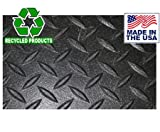 Diamond Plate Industrial Rubber Flooring Rolls - 4' x 50' x 1/8'' (200 sq ft) - USA-Made Green Product Tire Plast made from Recycled Rubber and Plastic