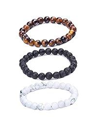Infinite U Women's Men's Buddha Bracelet 9mm Beads Wrist Mala Energy/Lava Stone Stretch Bracelet, Therapy Yoga Meditation, Brown/White/Black