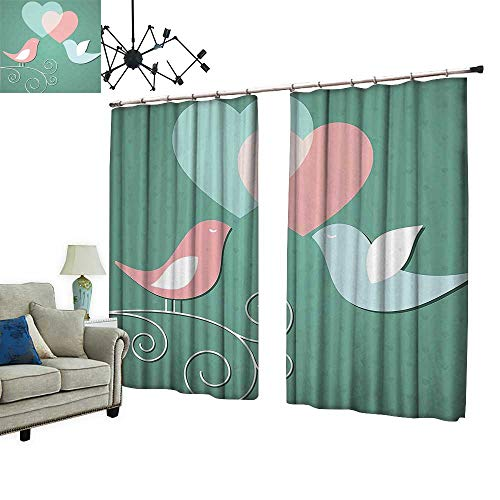 PRUNUS Blackout Curtain with Hook Birds with Heard Kissing Eachother Love Romance Artwork Green Pink and White Nice Bedroom Design,W96.5 xL108